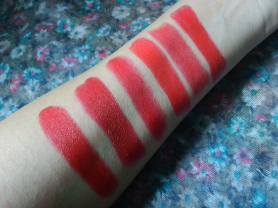 Da sx verso dx: #111 Kiss of Life Kate Moss Rimmel, Russian Red MAC, Ruby Woo MAC, #1 MUA, Cherry Pie Neve Cosmetics, #03 Venezia Astra.