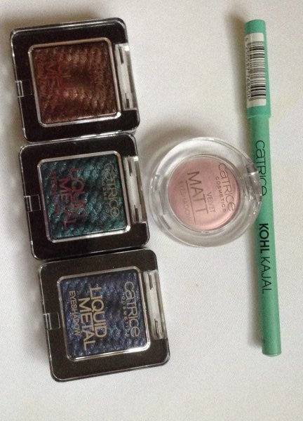 Catrice Kohl Kajal 180, Velvet Matt Eyeshadow 020, Liquid Metal Eyeshadow 090, 100, 110